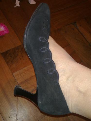 zapatos franceses taco talla 38 reno-cuero