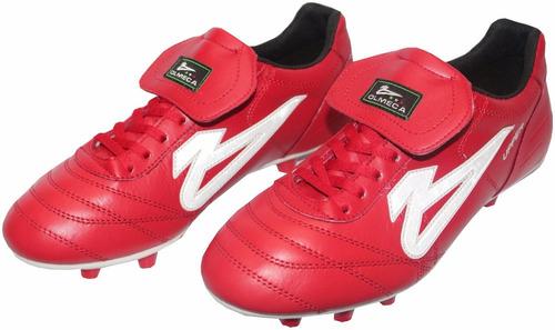 zapatos futbol soccer olmeca upper rojo en piel/mf