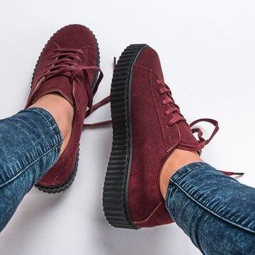 Zapatos Gamuzados Dama Plataforma Suela Gruesa Tractor Vans - Bs. 1 ... 45efd60f3a1bc