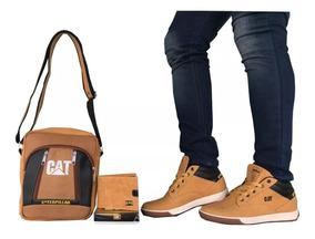 Zapatos Hombre + Bolso + Billetera Cat, Combo Casual