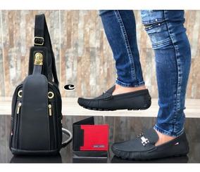 Zapato Hombre,combo Mocasín+billetera+bolso,casual