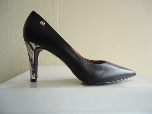 zapatos luz da lua nº 35 cuero nuevos negros taco serpiente
