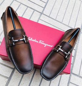 Salvatore Mocasines Hombre Ferragamo Cuero Zapatos En 1Tl3FKJc