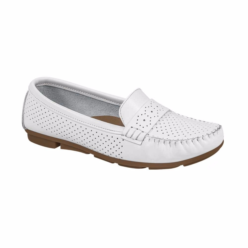 lo último 98a4f 70b93 Zapatos Mocasines Para Dama Shosh Color Blanco Piel Co41