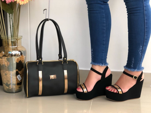 zapatos mujer + bolso mujer, combo, moda, plataformas