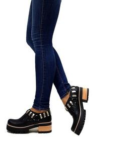 40bc5e0c5be9 Zapatos Mujer Botinetas Plataforma Goma Detalle Tacha Cuero