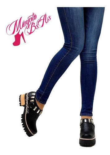 zapatos mujer botinetas plataforma goma detalle tacha cuero