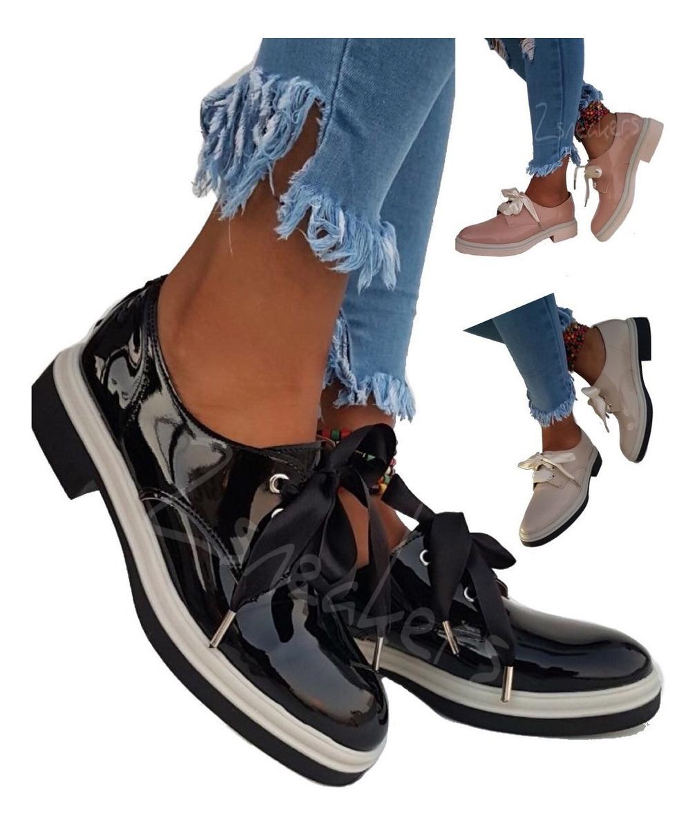 f9eb057bc6e5 Zapatos Mujer Charol Bajos Mocasin Botas Otoño Invierno 2018