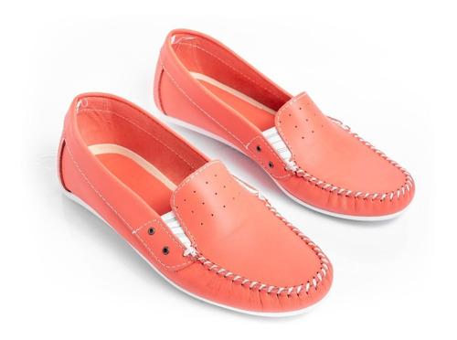 zapatos mujer mocasines chatas livianas cómodas en cuero