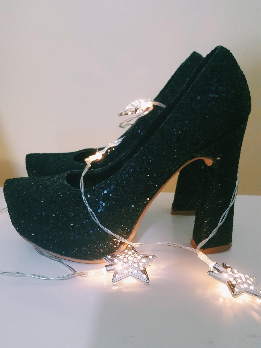 Zoom Fiesta Negros Zapatos Brillo Mujer Cargando qXX4Y