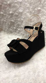 Mujer Sandalia Bajita Negra Zapatos Plataforma Color EDH2W9I
