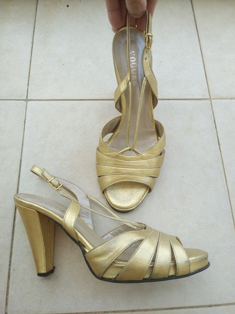 Cuero Mujer 00 Voguee660 Sandalias Zapatos Finas 38 Doradas Dorado WeE2bIY9DH
