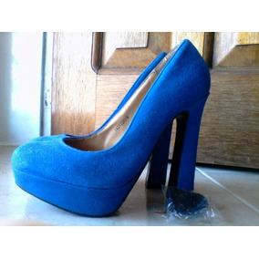 Sandalias Con Libre Plataforma Zapatos Azules En Tacon Mercado dBroCxe