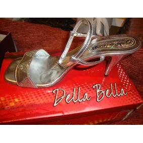 Sandalias Tacon Bolívar Medio Talla Plateadas En Zapatos Mujer DEIH29