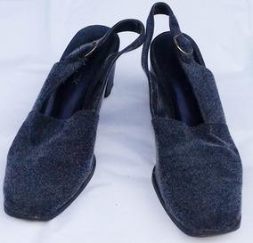 33ab0d15d Zapatos Mujer Taco Tela Negra Punta Cuadrada Marca Druck