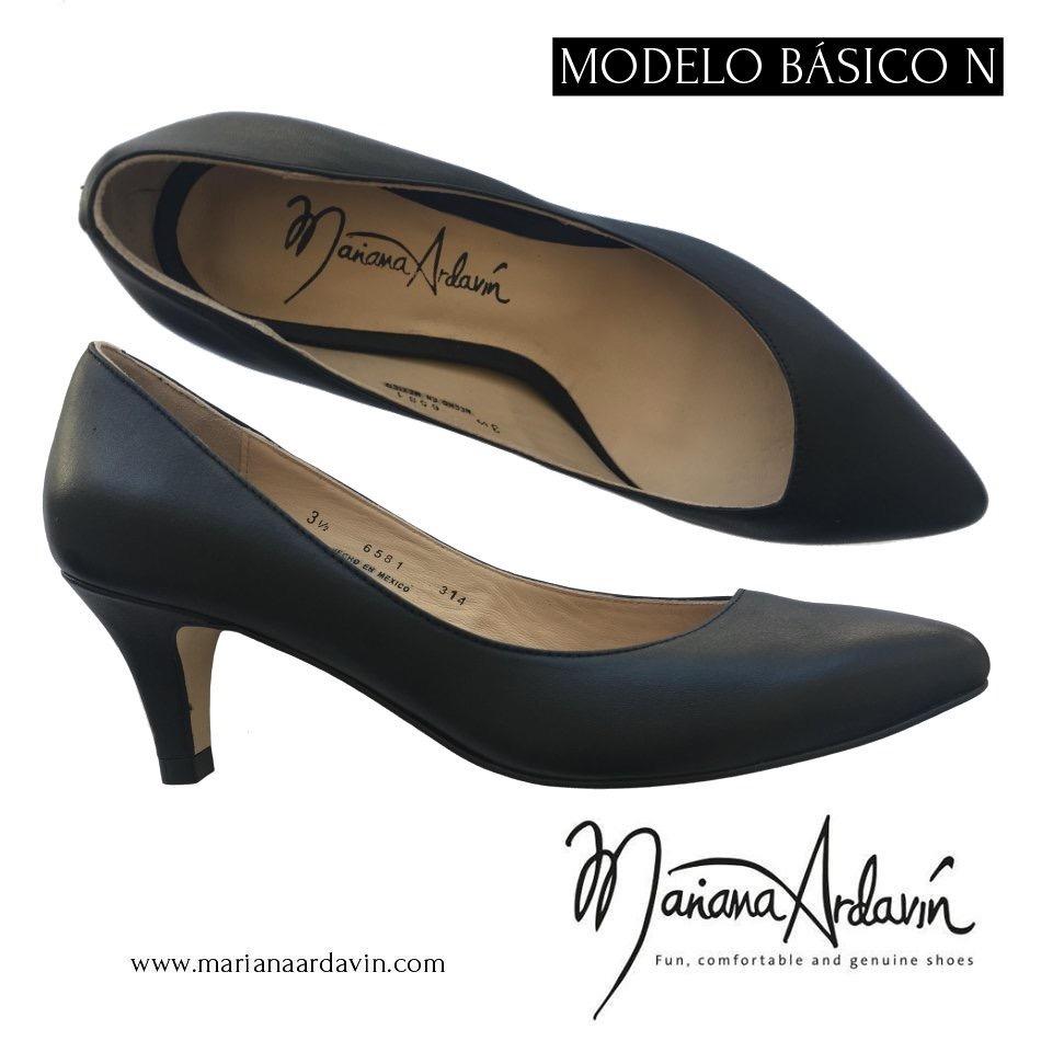 00 6 En Zapatos 380 Piel Medio Mujer Negros 100 Cm 1 Tacón xwqCB4wv