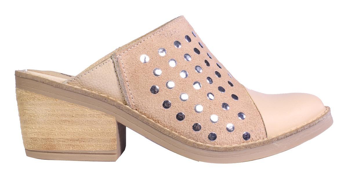 comprar popular 30ac2 0f685 Zapatos Mujer Zuecos Cuero Tachas Taco Verano Moda 2018 Tops