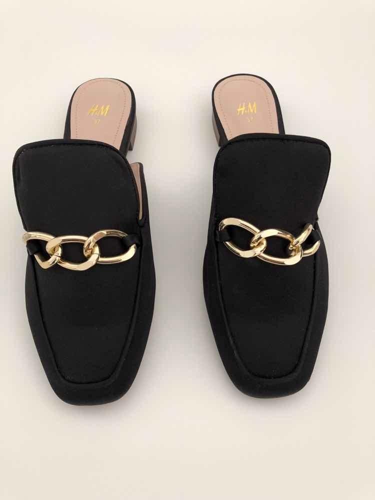 comprar popular 6af39 a4a4f Zapatos Mules H&m Negros Con Hebillas T. 37 Nuevo Original