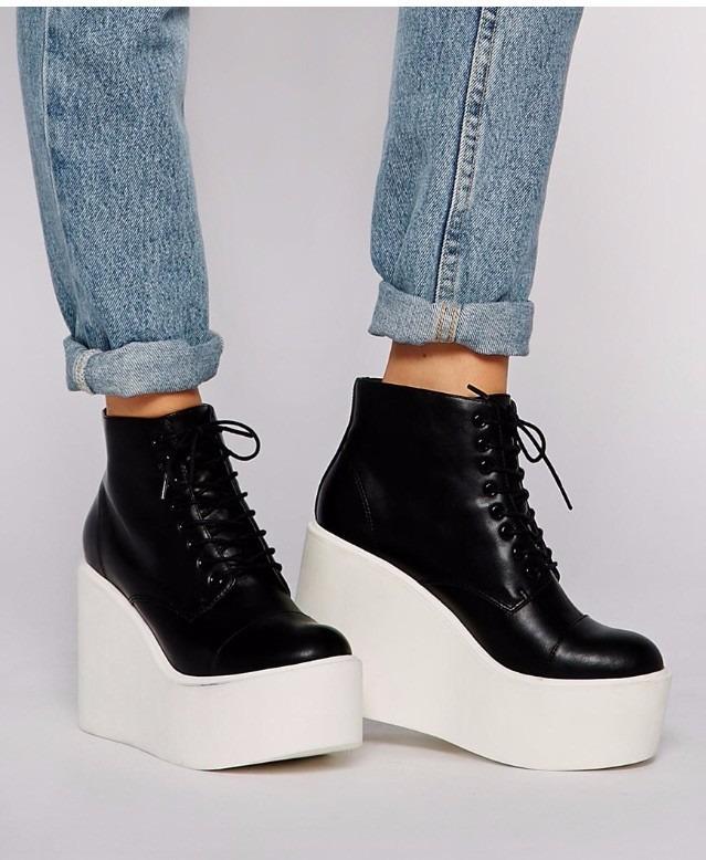 Zapatos Muy Altos Marca Asos Nº 38 Cuero Negro -   15.000 en Mercado ... 7219b50e3d70