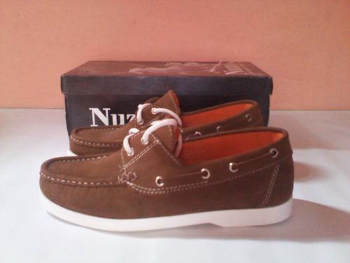 zapatos náuticos 100% puro cuero cosidos talla 40 nuevo ofer