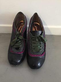 df1e0d739 Zapatos Negros Cuero Mery Poppins Talle 40 Con Tela Y Cintas