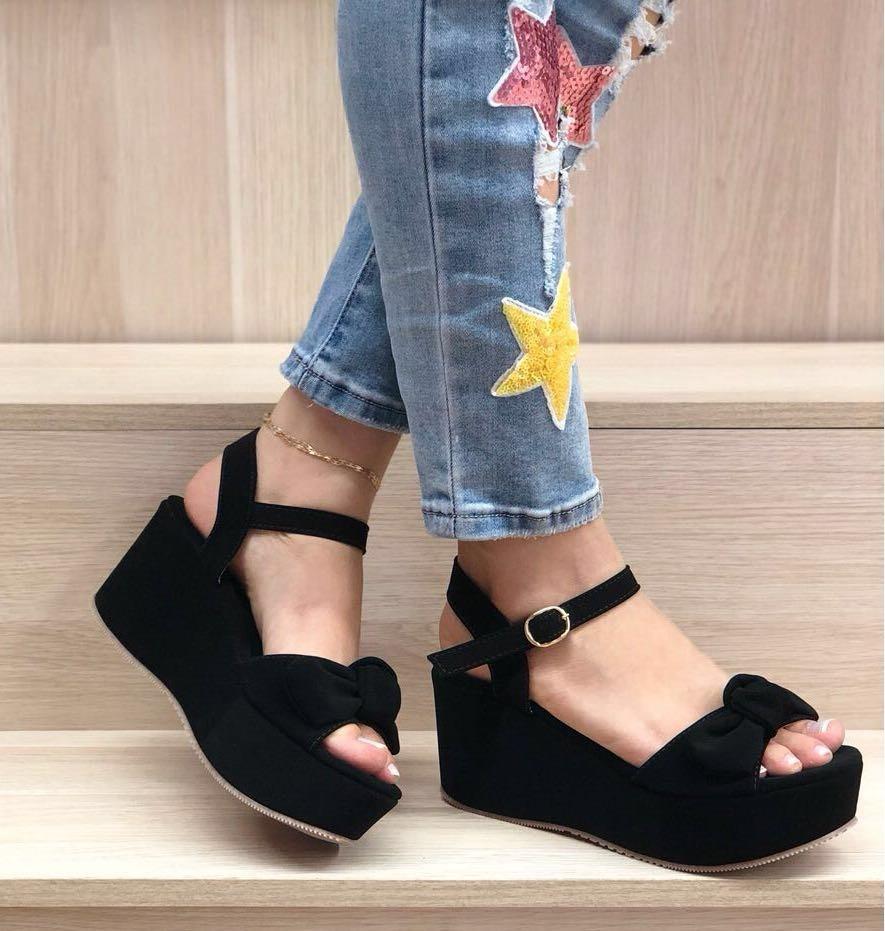 Zapatos Mujer Moda Dama En Para Negros Plataforma 54jcLqAR3S