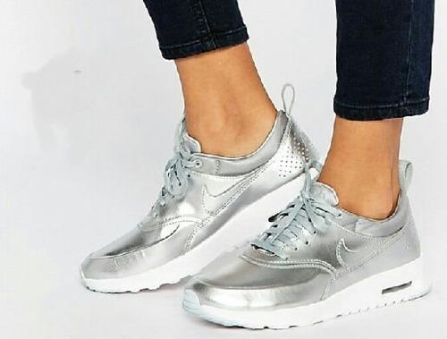 zapatos nike air max plateado de damas