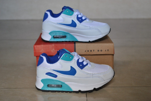 2694f61cdfe kp3 zapatos nike air max 90 blanco azul claro para niños. Cargando zoom... zapatos  nike niños
