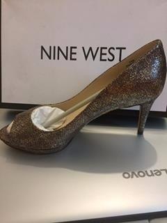zapatos nine west, talla 37.5, cafe dorado