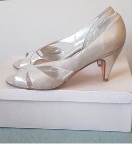 Forrados Zapatos Taco Plateado Cm Claro Bajo 6 Novia 5 FJ1lKc