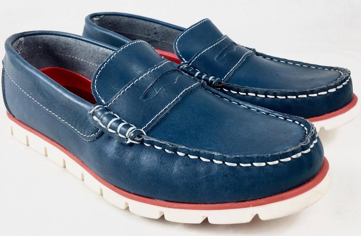 Cargando Azules Mocasìn Cuero De Zapatos Zoom Suela Nàuticos Goma Hombres 58q7WER