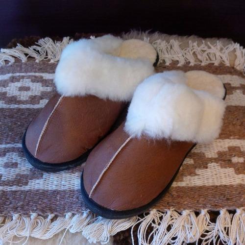zapatos pantuflas piel oveja cordero 100% cuero legítimo.