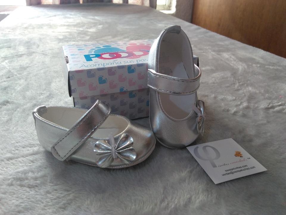 ea0da2d99 Zapatos Para Bebe Color Plateados Con Flor -   159.99 en Mercado Libre