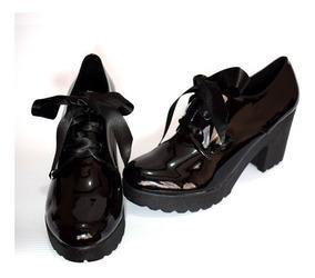 comprar online 4b161 ccd6b Zapatos Para Mujer Estilo Bolichero En Charol De Amarrar