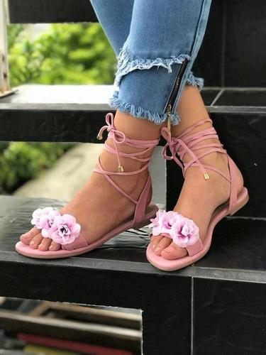 zapatos para mujer sandalia rosada romana de moda  colombia