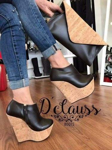 zapatos plataforma botines modernos para falda o pantalon