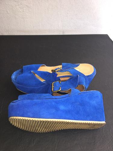 zapatos plataforma de gamuza azul talle 37 impecables