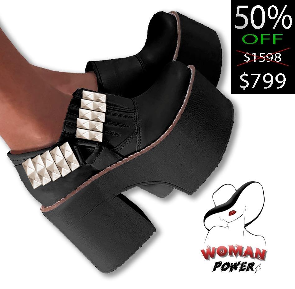 a15df54c241 zapatos-plataforma-moda-taco-negros-tachas-nuevos-dama. Cargando zoom.