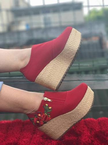 zapatos plataformas bordados de flor dama calidad colombiana