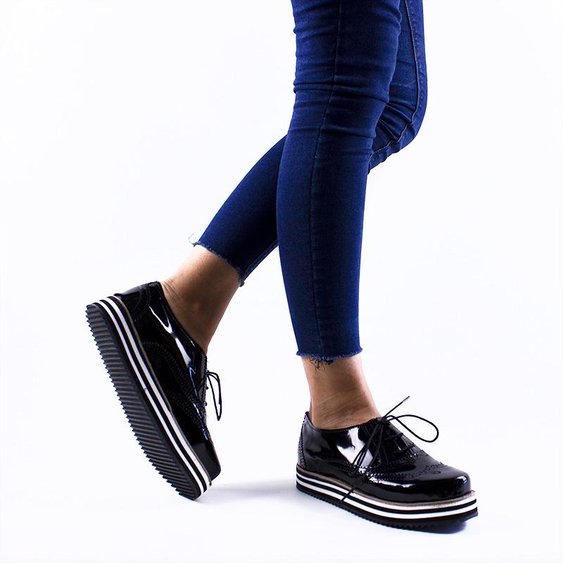 diseño innovador 8ffe7 da8b7 Zapatos Plateados Mujer Fiesta Charol Cordones Moda 2019