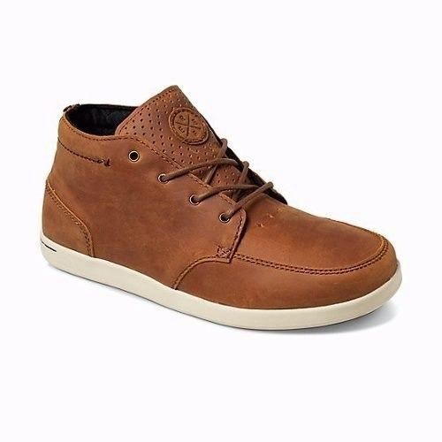 zapatos reef spiniker mid nb  cuero marron