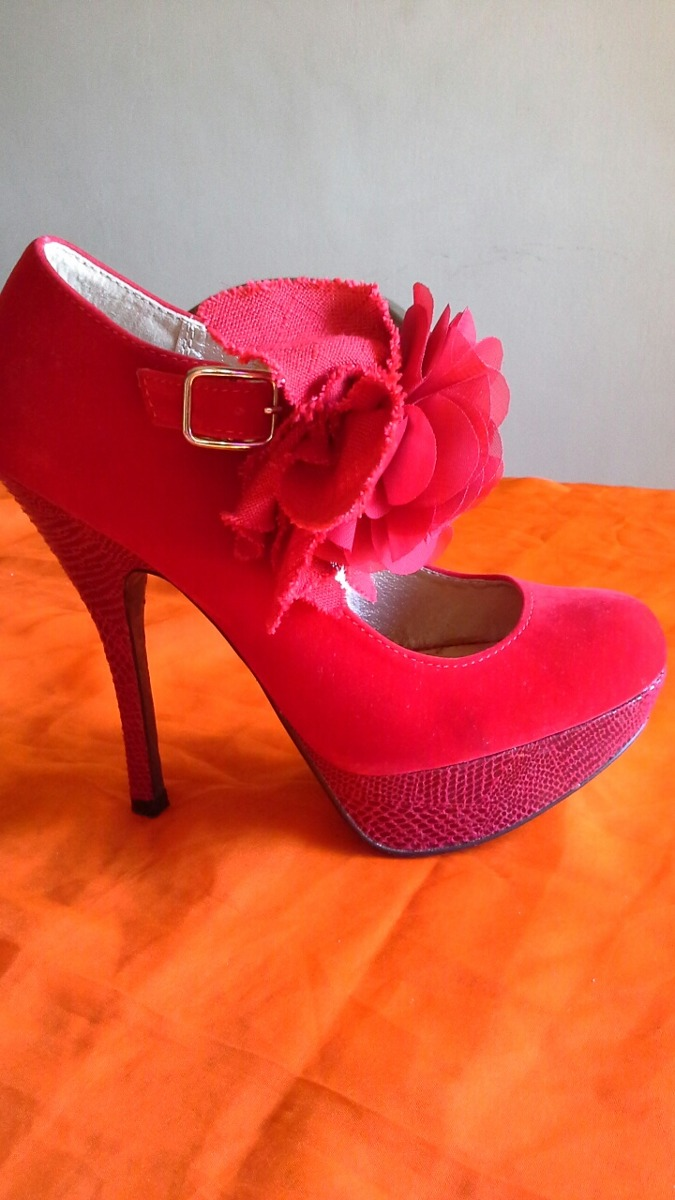 3983befa Zapatos Rojos De Tacones Con Plataforma Marca Qupid - Bs. 55.000,00 ...