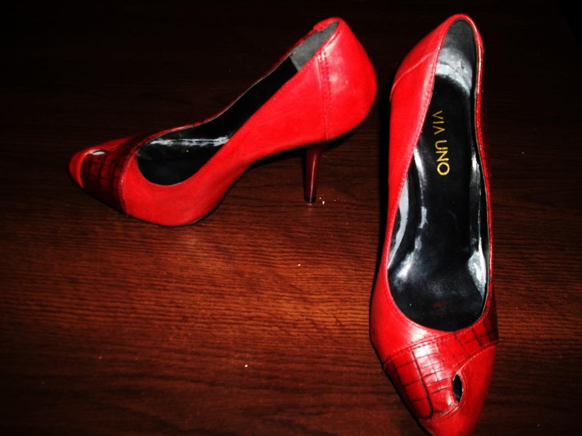 aaa742654d Zapatos Rojos Via Uno N 36..excelentes.!! - $ 850,00 en Mercado Libre