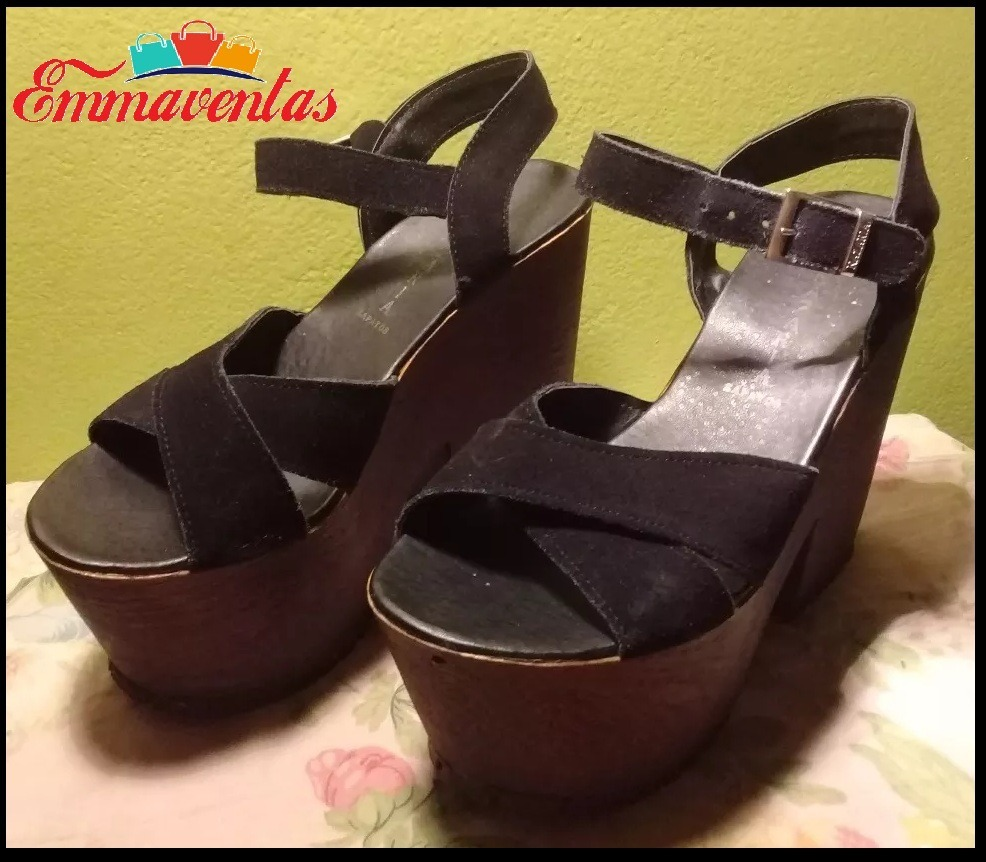 40 Sandalia MujerNegrosGamuza T Plataforma Zapatos b6Y7yfg