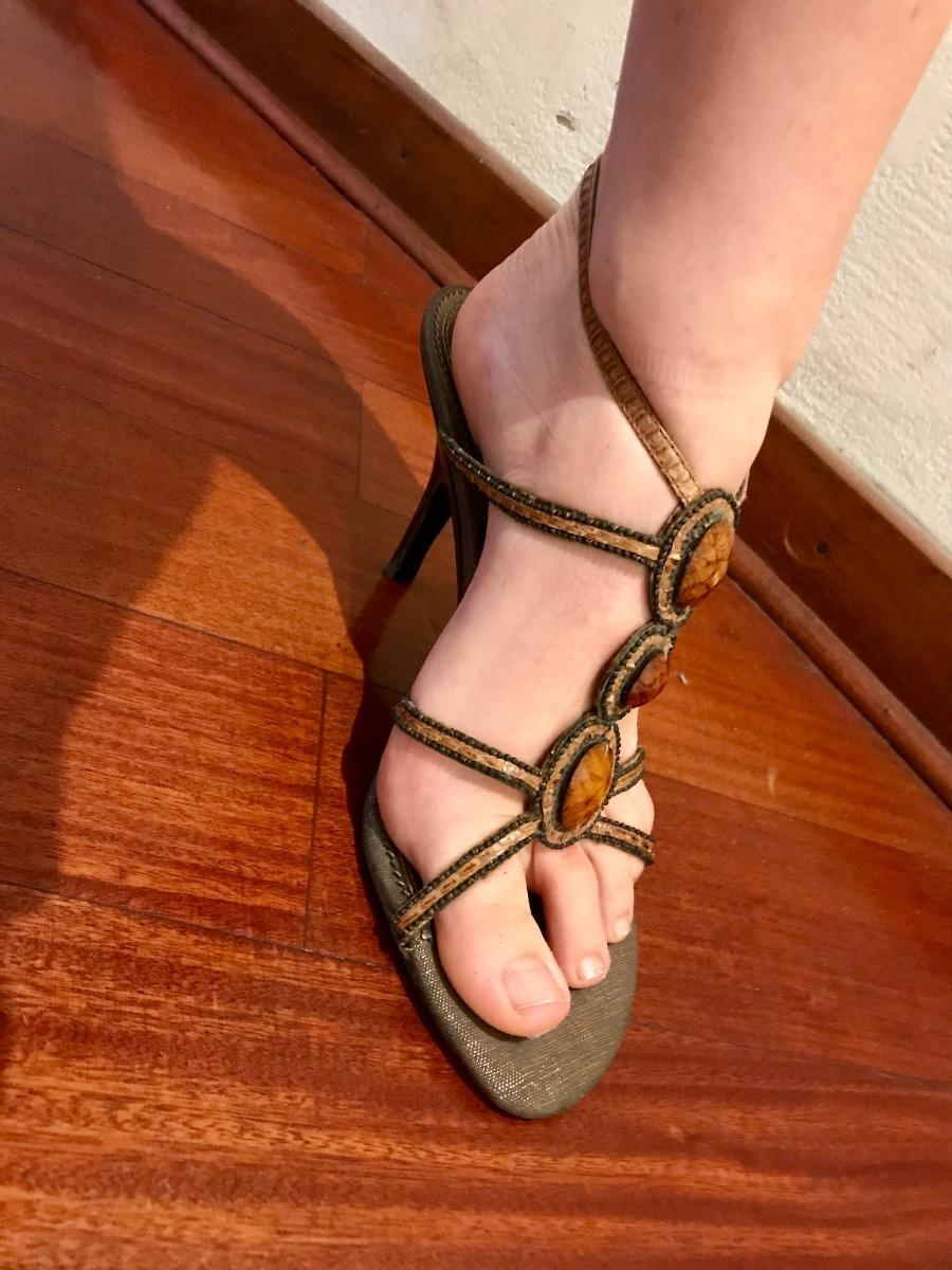 Sandalias 38 Con Pedrería Nuevas Zapatos Y Mujer 5 Taco D9IHE2