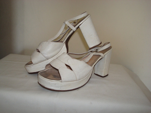zapatos sandalias cuero blanco talle36 ideal: novias,15 años