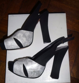 N°37 Plata Fiesta Zapatos Sandalias Negra Y Gamuza nPk0wO