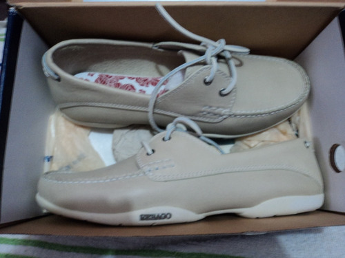 zapatos sebago original color champan con blanco nro 42.5