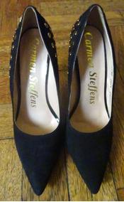 Stilettos Carmen Negros 39 Con Oro Steffens Tachas Zapatos EH9DI2