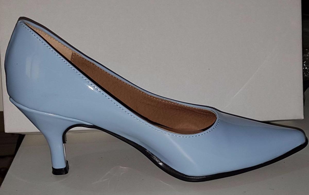 Stilettos 37 Clásico 5 3 Celestes Talle Zapatos Taco Charol fgY7vb6y